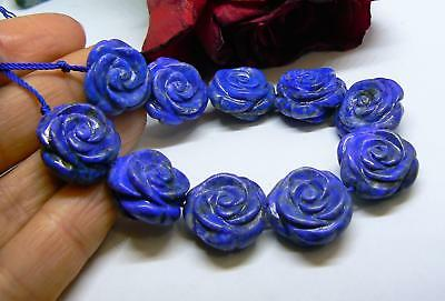 "10 NATURAL BLUE LAPIS LAZULI CARVED ROSE FLOWER BEADS AFGHAN 18mm 6.5"" AAA"