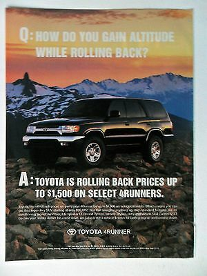 2001 Print Ad Toyota 4Runner Car Automobile ~ Rolling Back Altitude and Prices