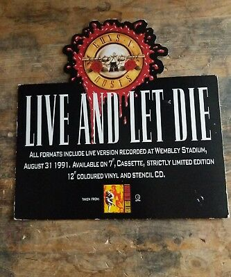 original EX SHOP stand up DISPLAY GUNS N ROSES LIVE AND LET DIE