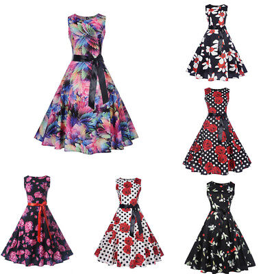 Women Vintage 50s 60s Retro Rockabilly Pinup Housewife Party Swing Dress * 30750