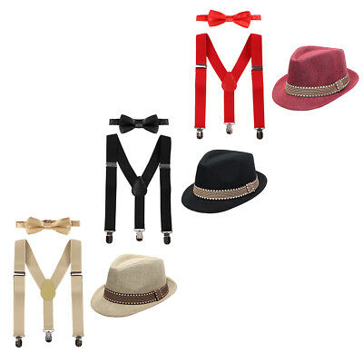 Baby Kid Boys Formal Fedora Bow Tie Suspenders Hat 3pcs Tuxedo Outfits Clothes