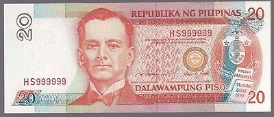 Philippines 20 Pesos NDS Red SOLID Serial SN# HS 999999 Uncirculated