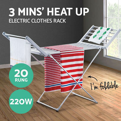 220W Aluminium Electric Clothes Dryer Heated Towel Rail Airer Hanger Laundry Rac