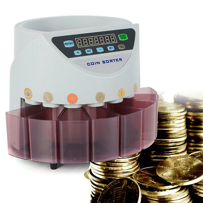 Pro LED Automatic Electronic Coin Counter Sorter Currency Counting Machine New