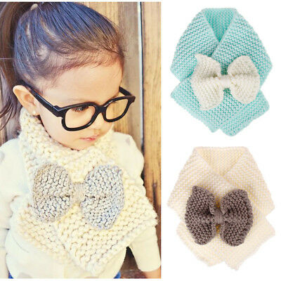 Kids Baby Boys Girls Winter Warm Knit Bow Scarf Neckerchief Scarves 1-6 Year Old