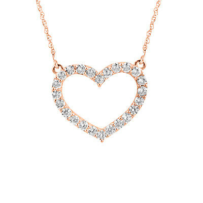 14K Rose Gold Over 925 Silver Heart Shape Round Diamond Pendant Necklace 18""