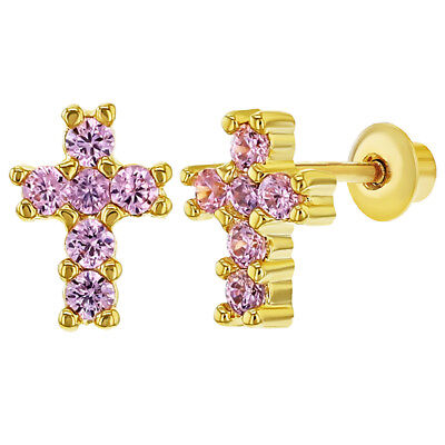 5c1e9c9ae 18k Gold Plated Tiny Pink CZ Religious Cross Screw Back Baby Girl Earrings