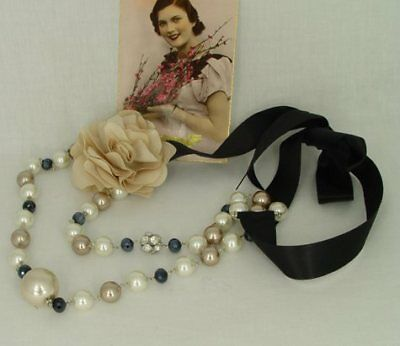 Vintage necklace ribbon fabric flower nostalgical jewelry artificial pearls new