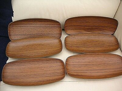 6 X VINTAGE 1960'S ROBEX FAUX WOOD SNACK TRAY FOR NIBBLES SNACKS x 6