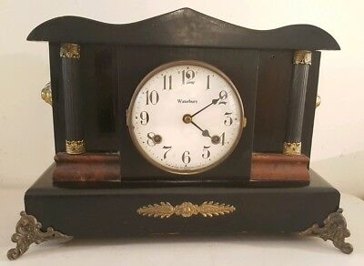 Antique Working 1800s Waterbury Black Pillar Column Victorian Mantel Shelf Clock