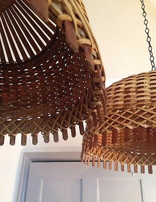 Pair of Large Vintage Bamboo Wicker  Lampshades Ceiling Pendants light shades