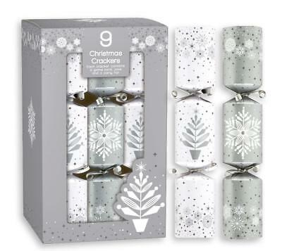10 Silver & White Snowflake Christmas Crackers 14'' Dinning Table Crackers Gifts