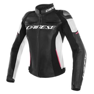 GIACCA MOTO DONNA Dainese Pelle RACING 3 LADY NeroBianco