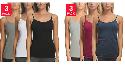NEW Felina Ladies Cotton Stretch Camisole - 3PACK - Variety
