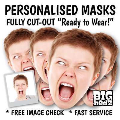 """""""Fully Cut-Out"""" Personalised Face Masks Hen Night Birthday Party Photo Wedding"""