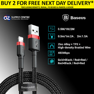 Genuine Baseus iPhone charger cable mfi braided lightning USB cord 2M Apple 5 6