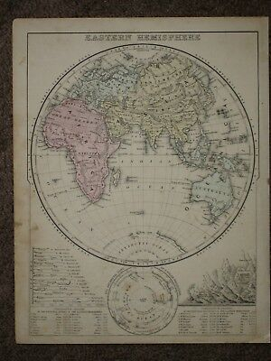 1872 EASTERN HEMISPHERE ANTIQUE MAP Mitchell Atlas HAND COLORED ORIGINAL!