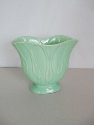 Brush McCoy Vase Fan Shape Green 735 Vintage