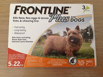 New Box Of Frontline Plus For  Dogs 5 - 22 Lbs 3 Doses Free Shipping
