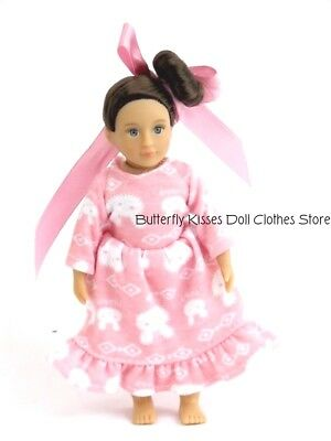 Pink Bunny Rabbit Nightgown 6 in Doll Clothes Fits Mini American Girl Dolls