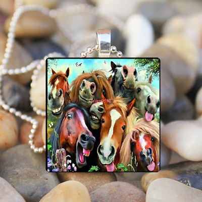 Animal Horse Family Art Cabochon Glass Tibet Silver Tile Chain Pendant Necklace
