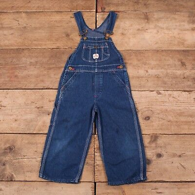 Childrens Vintage Red Ball 1960s Denim Overalls Dungarees USA 4 Years XR 9716