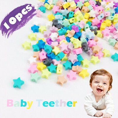 10XPentagram star silicone teething beads teether baby chewable DIY necklace Pip