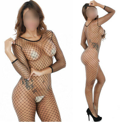 SeXy Catsuit Overall Bodystocking Dessous Nylon Netzbody Ouvert GoGo XS S M L