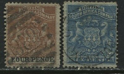 Rhodesia 1891 4d and 6d used