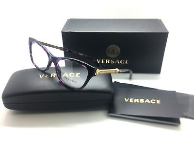 Versace Cat Eye Violet Havana Filigree Gold Mod eglasses VE 3214 5152 Frame 54mm