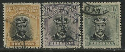 Rhodesia 1913 KGV 3d and 6d and 1922 1/ used