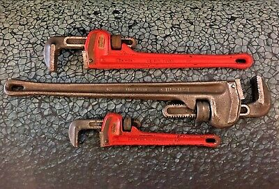 """Set of 3 Ridgid Pipe Wrenches 24"""" 18"""" 12"""" inch"""