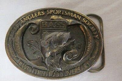 Vintage 1987 Bass Anglers Sportsman Society Belt Buckle 20th Anniversary