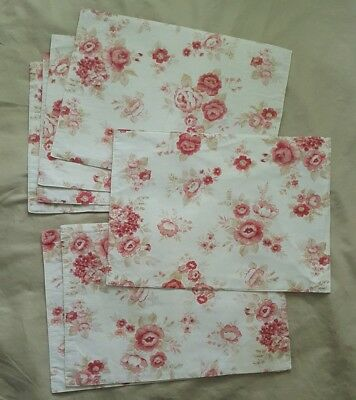 7 Shabby PINK ROSE PLACEMATS Set Cottage Chic Cotton Floral Fabric