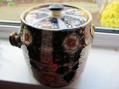 Gaudy Welsh Antique English Pottery biscuit barrel