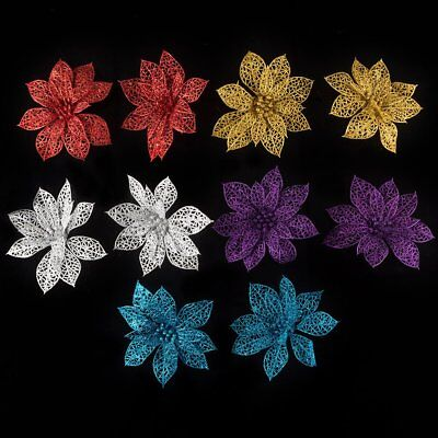 10pcs Christmas Flowers Xmas Tree Decorations Glitter Hollow Wedding Party DIY