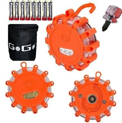 3 Pack Road Flares Magnetic Flashing Warning Light Free Bag & 9 AAA Batteries