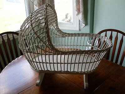 Antique Vintage Child's Wicker Rocking Bassinet Cradle Baby Doll or Bear