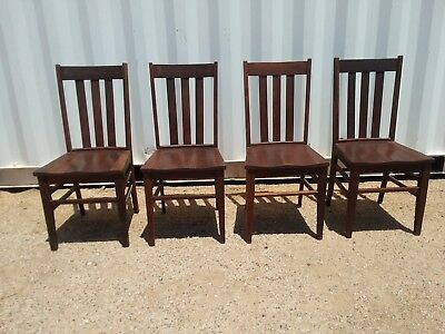4 Antique Mission Oak Arts And Crafts chairs