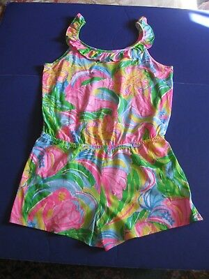 Lilly Pulitzer Girls Romper Marcella Multi So A Peeling Xl Extra Large 12 14