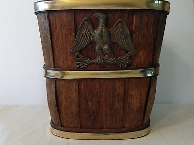 Vintage Wood Barrel Waste Basket Trash Can  With Eagle