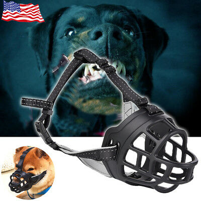 Adjustable Ultra Dog No Bite Muzzle Comfortable Soft Plastic Mesh Basket Black