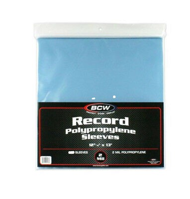 """~5 BCW Clear 33rpm Record Polypropylene Sleeves (12-3/4"""" X 13"""")"""