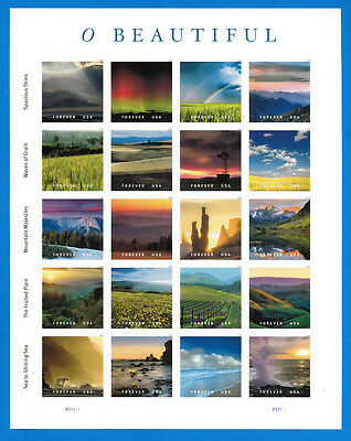 US O Beautiful Stamps, Full Pane (20 Forever Stamps), MNH 2018