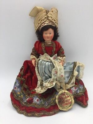 "Vintage Antique French France Celluloid Jointed Doll 8"" Velvet Embroidered Dress"