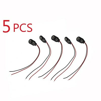 5x PP3 9V Battery Leather Snap-on Connector Clip Tinned Wire Leads 150mm