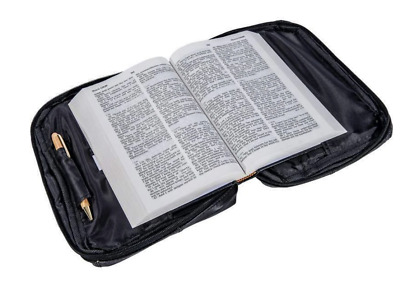 Black Genuine Leather Bible Book Cover Zippered Bag Organizer Case