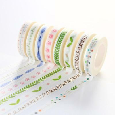 7mm*10m Washi Sticky Paper Masking Adhesive Decorative Tape Scrapbooking-DIY
