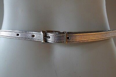 Domo 32  mens  50s Vintage retro silver unused NWOT  leather narrow Belt