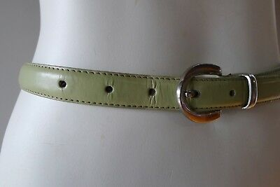 Vintage retro 33 90s mens light green narrow leather Belt very good